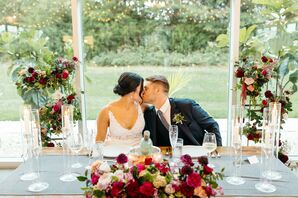 Classic Sweetheart Table with Red Flower Arrangements