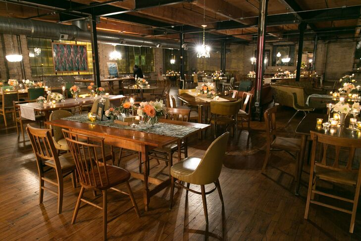 """We chose Salvage One because we thought the vibe of the space paired perfectly with our vision of an ideal wedding venue — urban, retro, funky and the perfect combination of classy, yet casual,"" says Rachel. For the reception, the couple let the unique venue shine, opting for elements that played up Salvage One's cool, old world vibe, like vintage accents, pastel blooms and lots of twinkling candlelight."