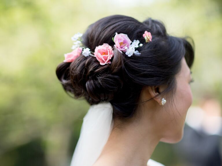Braided flower crown and bridal updo