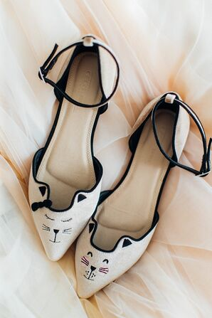 Ballet Flats with Cat Face and Ankle Strap