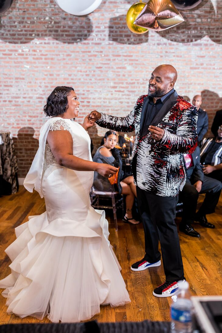 Trumpet Wedding Dress with Cape and Hip-Hop-Inspired Suit Jacket