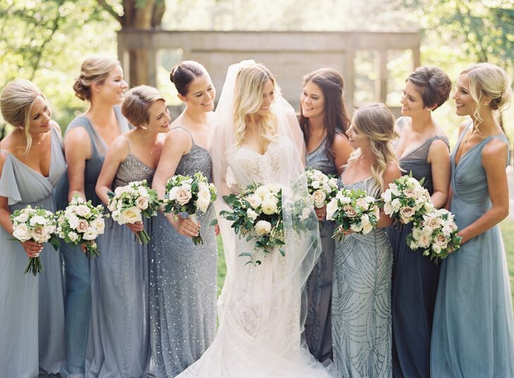 Bridesmaids in Mismatched Beaded Blue Dresses