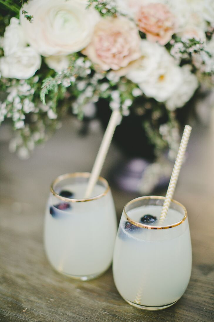 What better way to hold a cocktail hour than with seasonal signature cocktails? Since the wedding took place in the spring, guests chose from infused lemonade spritzers, raspberry rumbles and champagne.
