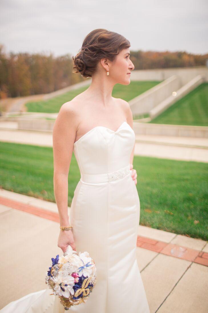 Bride In A Romantic David S Bridal Wedding Gown
