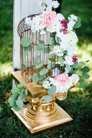 Gold Birdcage With Fresh Flowers and Eucalyptus