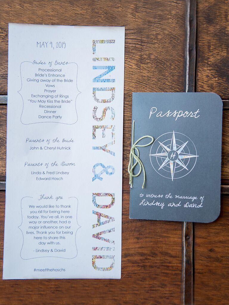 Travel-themed wedding program and passport stationery