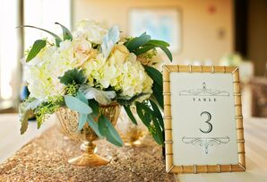 Lamb's Ear and Hydrangea Gold Centerpieces