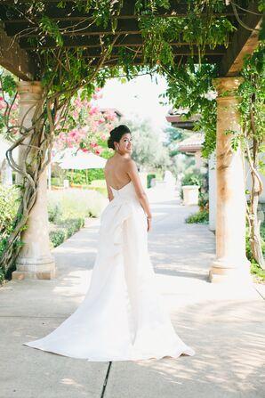 Monique Lhullier Blush Silk A-Line Gown