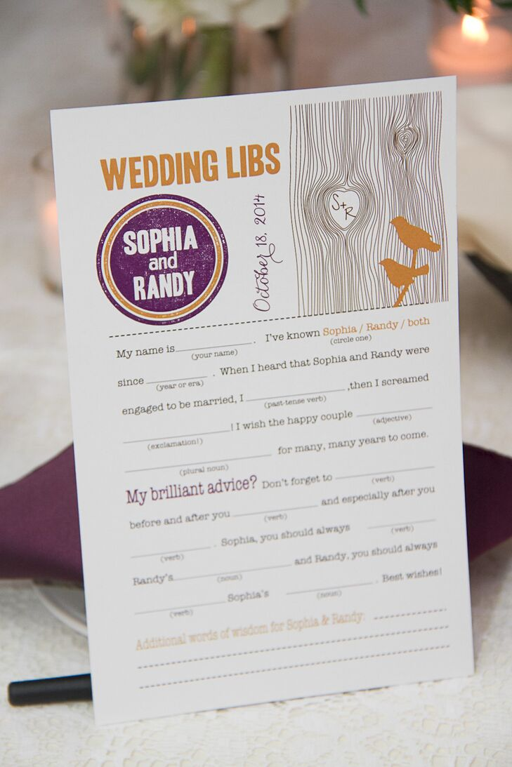"Custom wedding Mad Libs games doubled as place cards at the reception to help guests socialize with their neighbors. All of the guests got along like old friends by the end of the night, when everyone got up and danced to James Blunt's ""Bonfire Heart."""