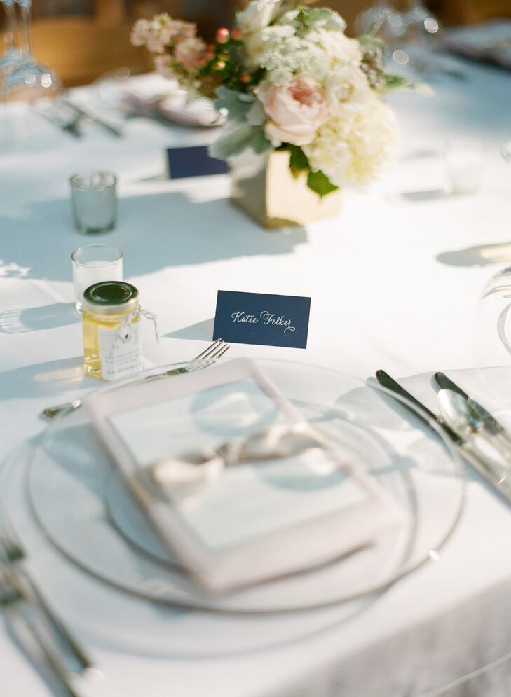 Elegant Navy and White Place Setting Cards