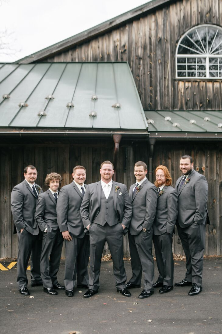 Gray Suits at Natural Barn Wedding