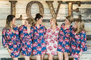 Blue Floral Bridesmaid Robes