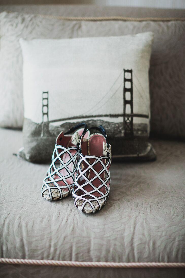 Black and White Unique Bridal Shoes