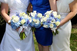 White and Blue Flowers for Traditional English-Inspired Wedding