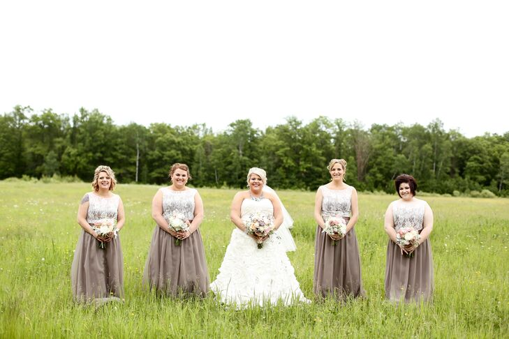 The bridesmaids wore the same dress from Wedding Shoppe. Katie loved the mocha color for the country wedding while the lace overlay on the bodice softened the look and added a little vintage flair.
