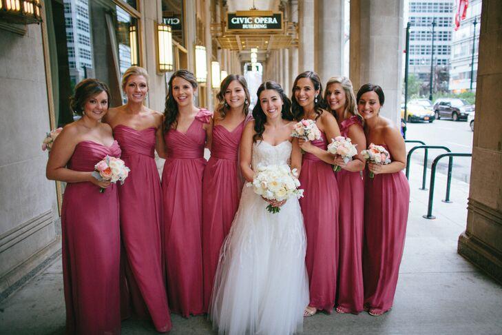 Amsale Rhubarb Bridesmaid Dresses