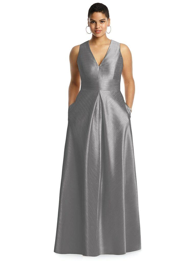 Silver gray plus size bridesmaid dress