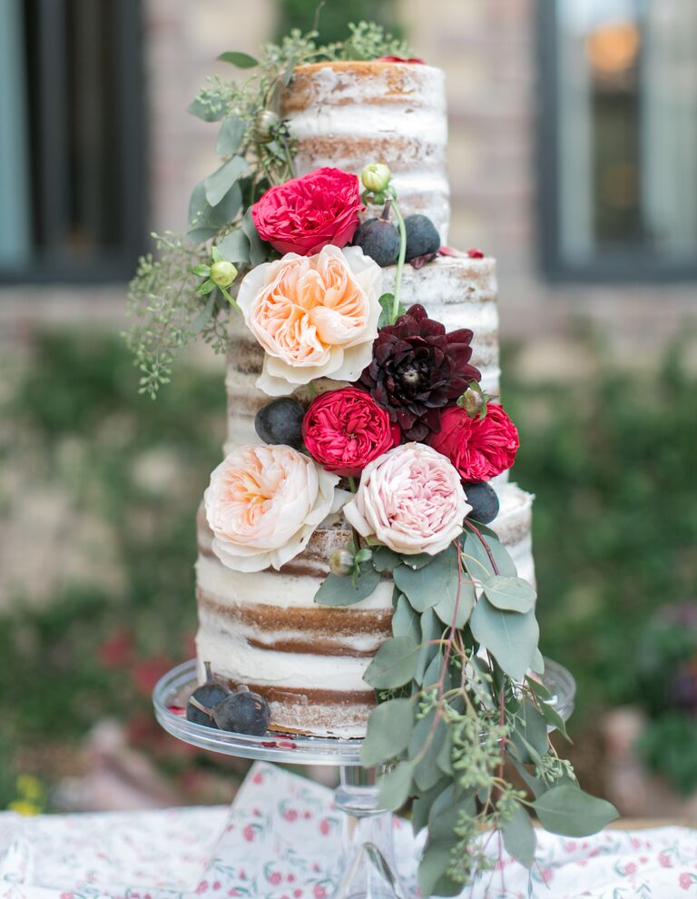 Tall romantic naked cake with Juliet garden roses