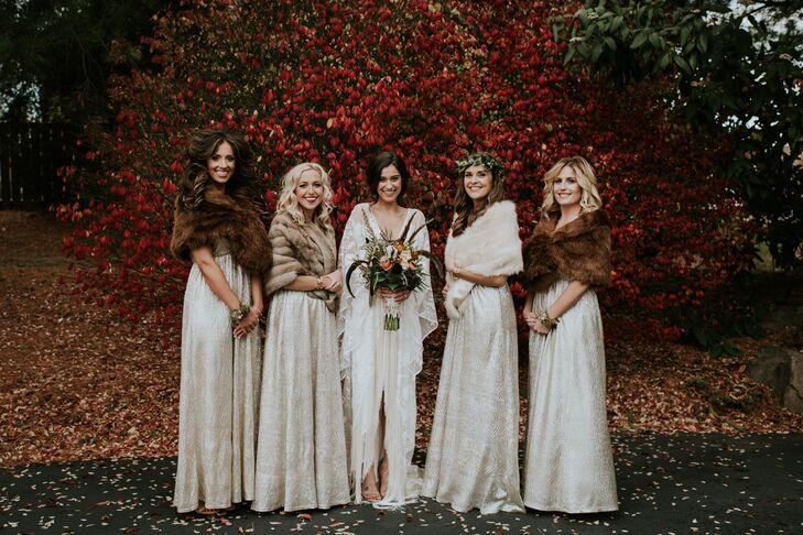 Bohemian Bridesmaids in Fur Shawls