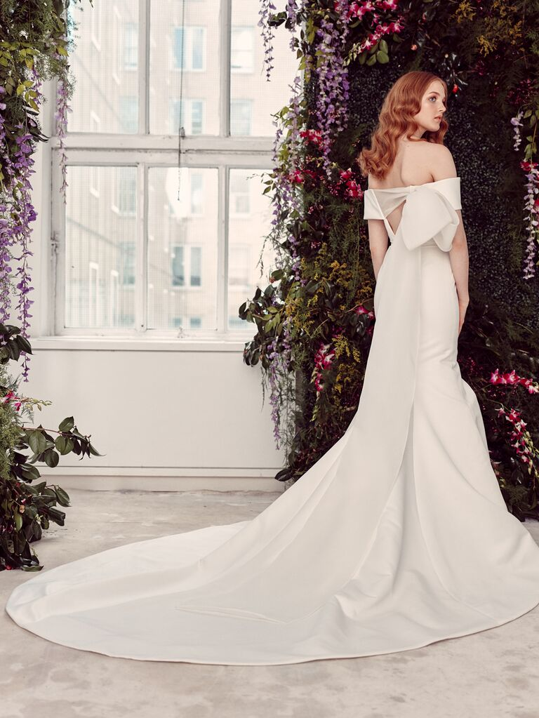 Alyne by Rita Vinieris Spring/Summer 2020 Bridal Collection off-the-shoulder fitted wedding dress with dramatic train