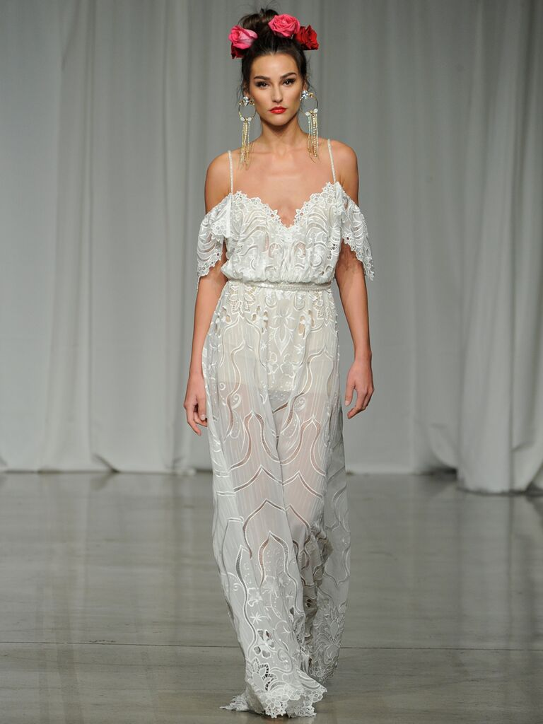 Julie Vino Spring 2019 wedding dress with a sheer skirt and off-the-shoulder bodice