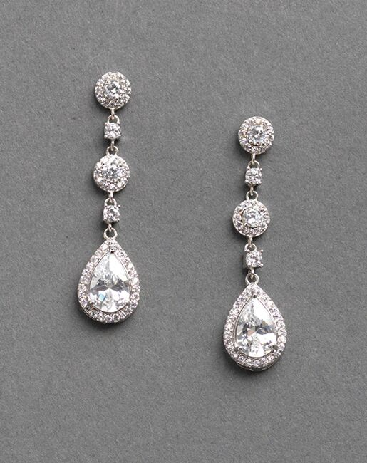 USABride Petite CZ Drop Earrings (JE-4023) Wedding Earrings photo