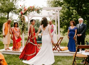 """Marissa and Rachel infused both of their identities into one innovative wedding weekend. """"It was fun coming up with the vision,"""" Marissa says. """"I real"""