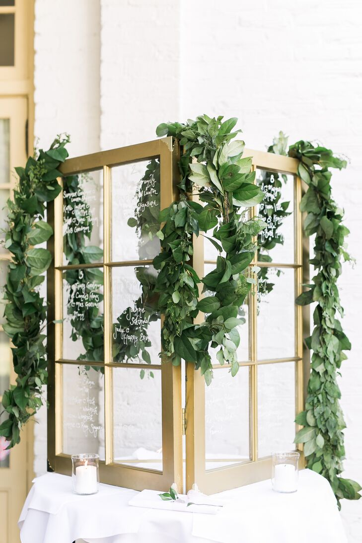 Gold Window Frame Seating Chart with Eucalyptus Garland