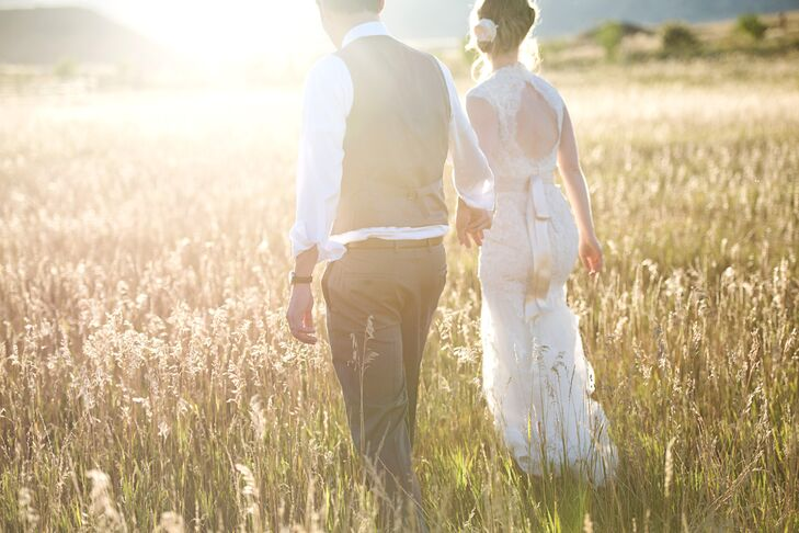 Bride and Groom on Frog Belly Farm