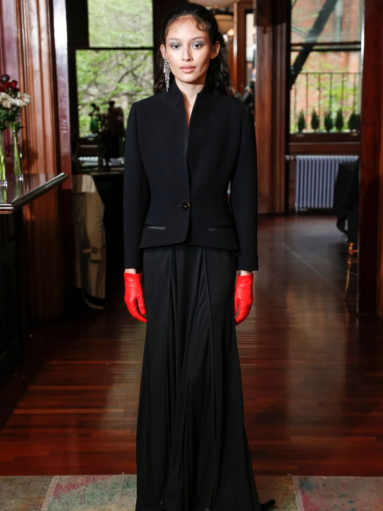 Monica Byrne Spring 2020 Bridal Collection black bridal look with red gloves