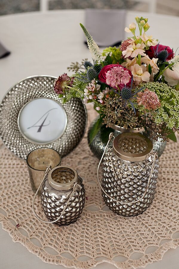 Sophisticated Gray Lantern Centerpieces