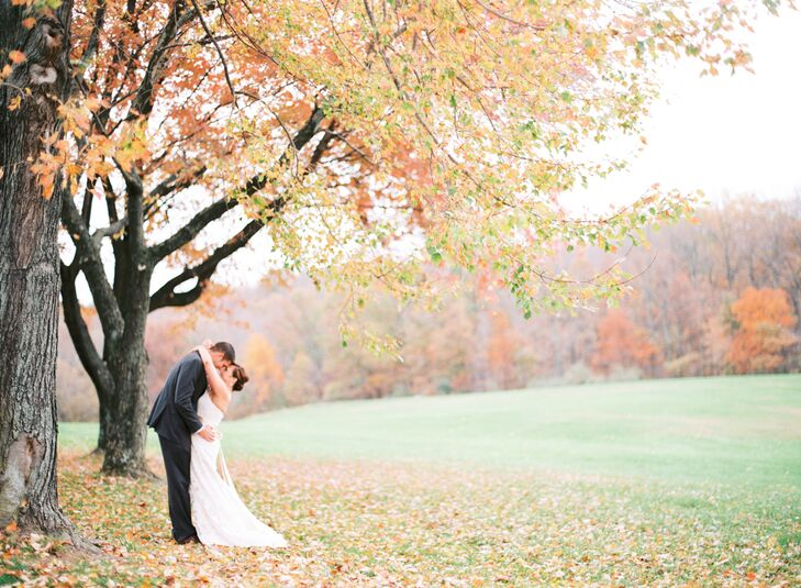 Bride and Groom at Smokey Glen Farm in the Fall