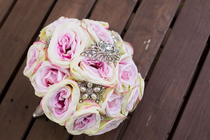 Pink Rose and Brooch Bouquet