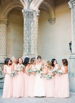 Peach Halter Wrap Bridesmaid Dresses