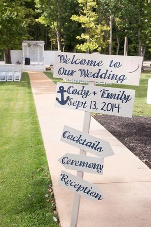White and Navy Nautical Wedding Sign