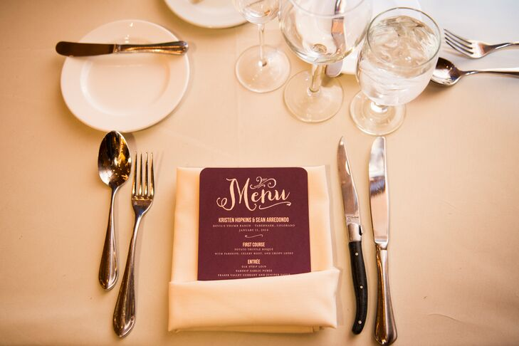 Whimsical Plum Menu Cards