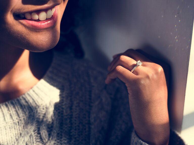 Woman wearing engagement ring