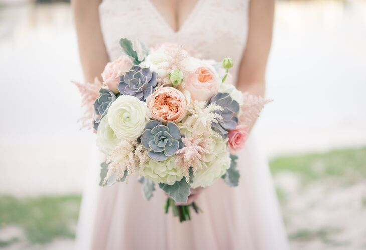 """""""One flower I fell in love with early on was peach-colored astilbe, which established peach and blush as colors,"""" Lindsey says. Her bouquet from Libby's Flowers was filled with white and pink astilbe, blush garden roses, white hydrangeas, white ranunculus, pink roses, dusty miller and succulents for some extra texture."""