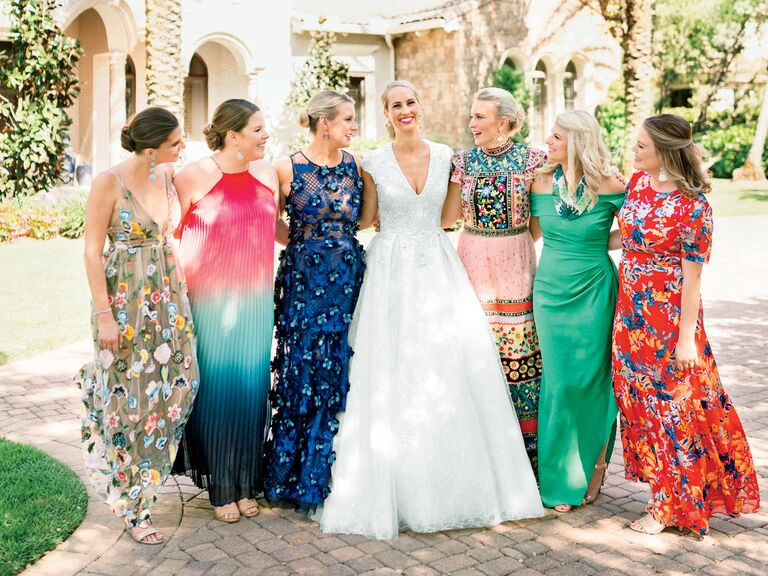 colorful mismatched bridesmaid dresses