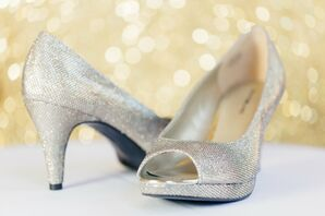 Silver Sparkly Open-Toe Shoes
