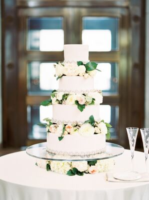 Blush Four-Tier Cake with Layers of Garden Roses