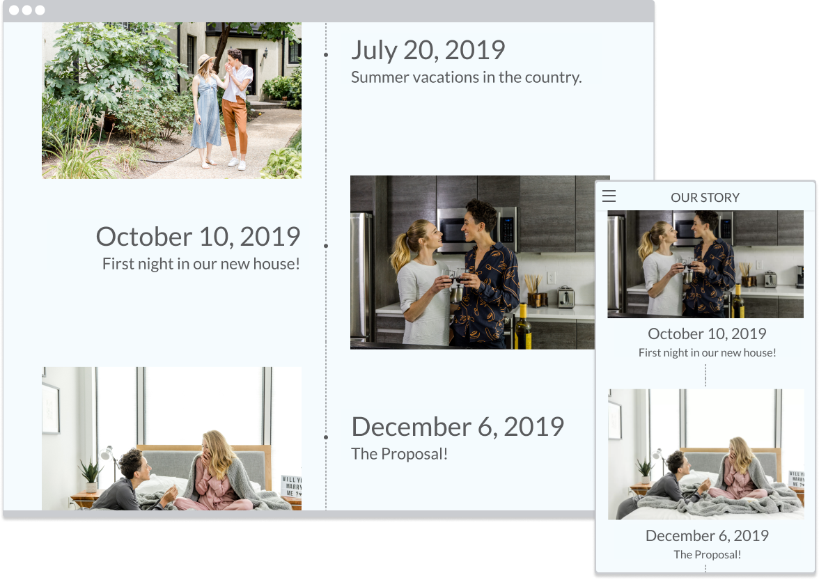 Story timeline with photos on desktop and mobile devices
