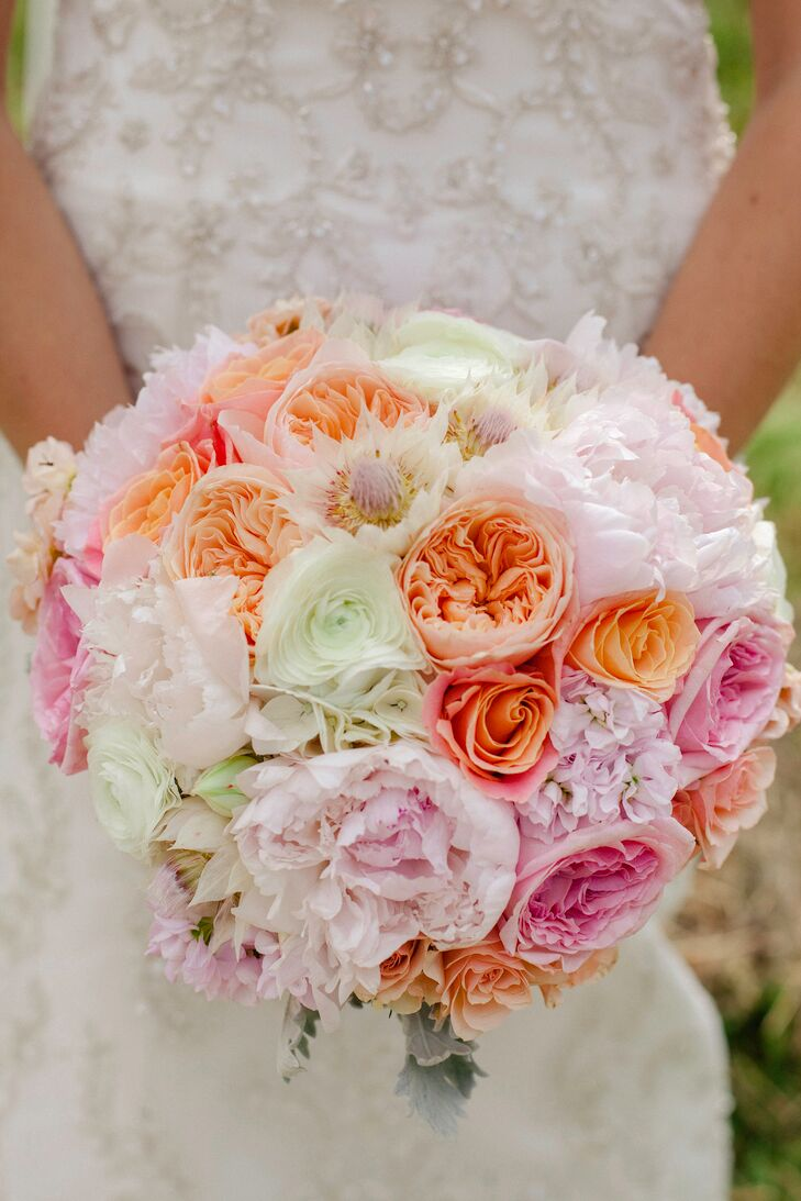 Peach, Pink and Ivory Peony and Garden Rose Bridal Bouquet