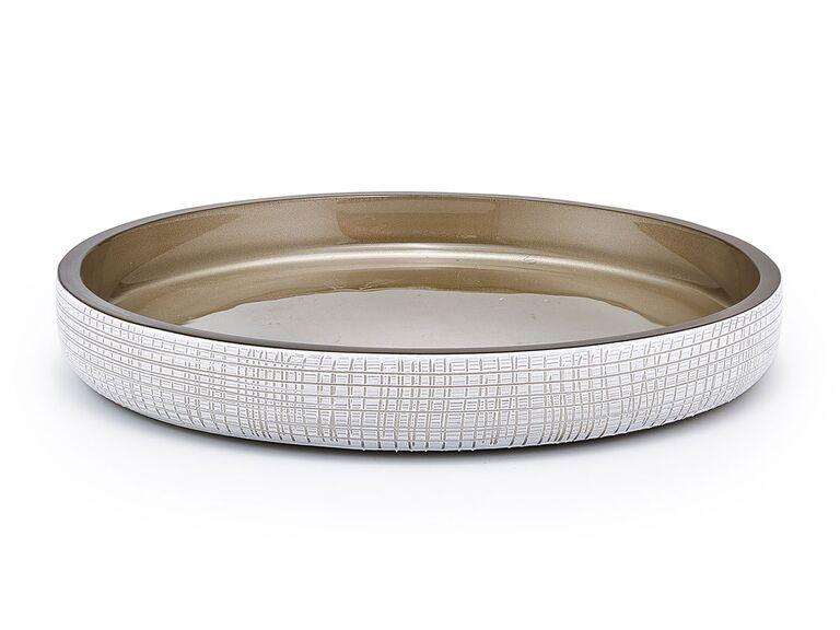 Platinum and ivory enamel woven-style trinket tray