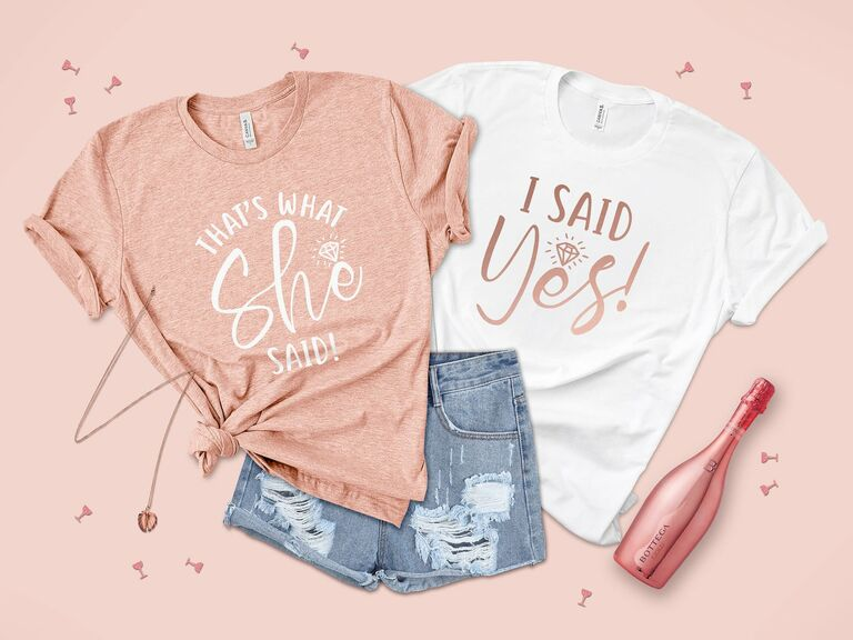 """""""I said yes"""" and """"that's what she said"""" bachelorette party tank tops"""