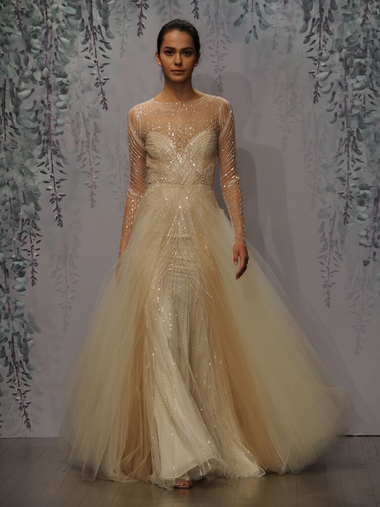 Monique Lhuillier wedding dress Fall 2016 Rose Gold embellished tulle illusion long sleeve sheath gown