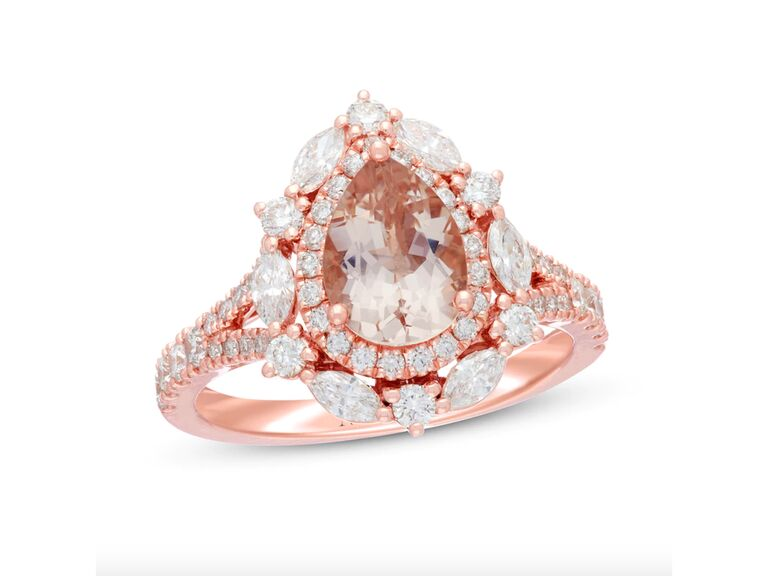 Neil Lane morganite engagement ring with one carat total weight diamonds in rose gold
