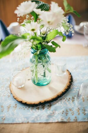 Daisies in Blue Mason Jar with Wood Detail
