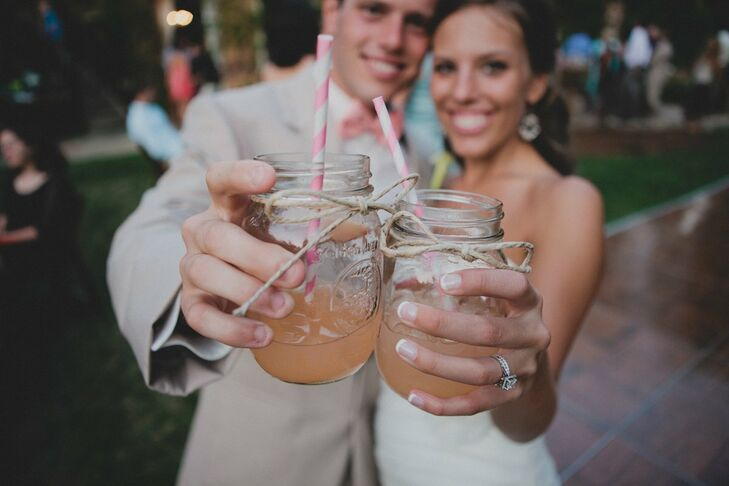 Kelsey and Tanner served a drink called a T & K, a sweet berry martini, a used coral colored straws to match the color palette.