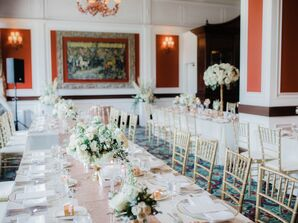 Rose Gold and Ivory Reception Tables